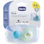 Chicco Physio Micro Σιλικόνης Σιέλ/Πράσινη 0-2m 2τμχ +Θήκη